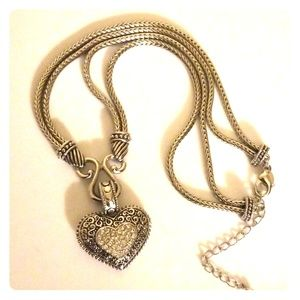 Lia Sophia Silver Heart Necklace 16""